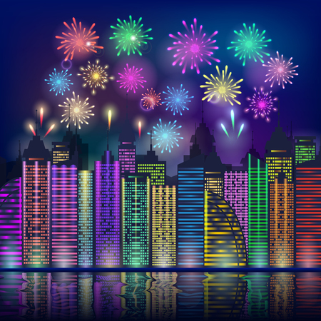 Colourful fireworks over a city at night. A holiday in the city. Holiday scene or background for New year celebration. Vector illustration Illustration