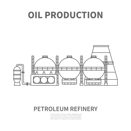 Petroleum refinery icon. Linear logotype or sign for oil producing or refinery company. Vector illustration