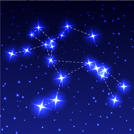 The Constellation Of Centaurus in the night starry sky. Vector illustration of the concept of astronomy