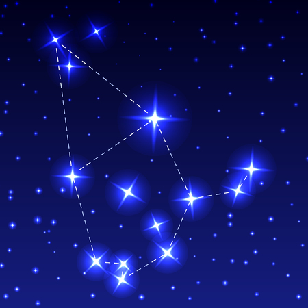 The Constellation Of Cepheus in the night starry sky. Vector illustration of the concept of astronomy Çizim