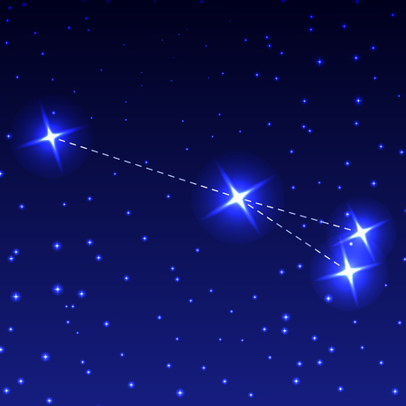 The Constellation of the Arrow in the night starry sky. Vector illustration of the concept of astronomy