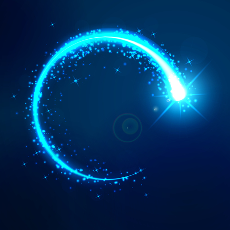 A bright flash in a circle on a dark blue background. Round bright blue neon effect. The whirlwind of shiny particles. Flashes of light on the blue background. Vector illustration