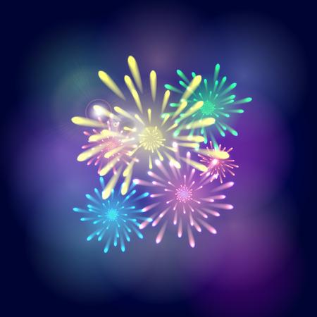 Bright colorful fireworks on a dark blue sky background. Vector illustration