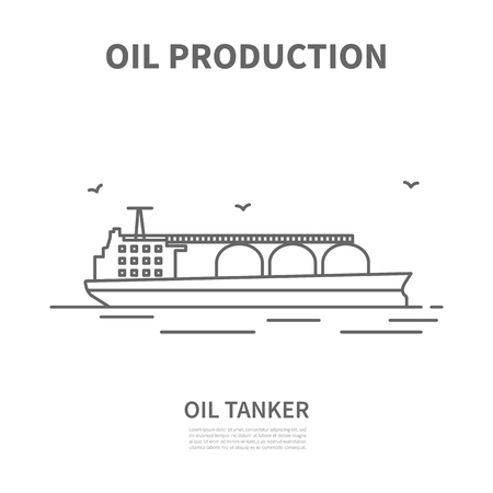Oil tanker icon. Linear logotype or sign for oil producing company. Vector illustration