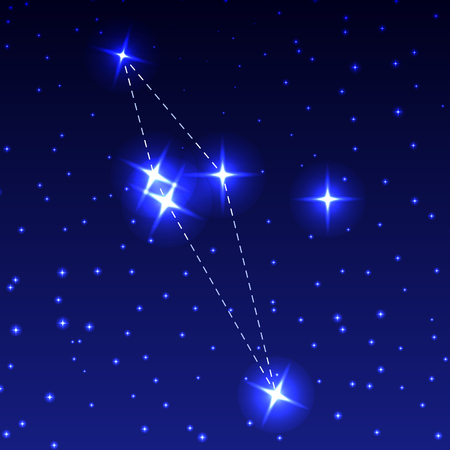 The Constellation of the Shield in the night starry sky. Vector illustration of the concept of astronomy