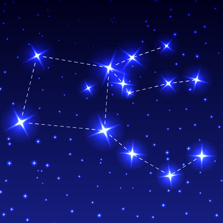 The Constellation Pegasus in the night starry sky. Vector illustration of the concept of astronomy