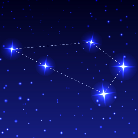 The Constellation Sculptor in the night starry sky. Vector illustration of the concept of astronomy