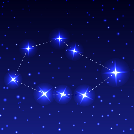 The Constellation Sail in the night starry sky. Vector illustration of the concept of astronomy