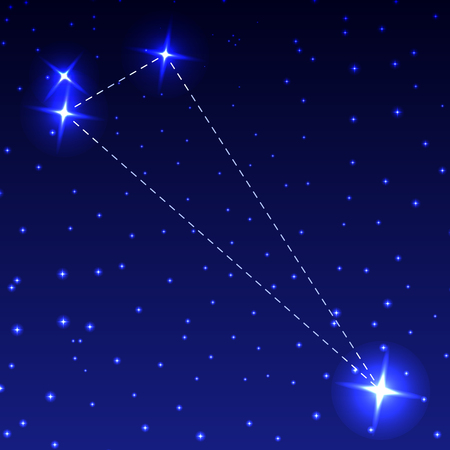 The Constellation of the Triangle in the night starry sky. Vector illustration of the concept of astronomy Illustration