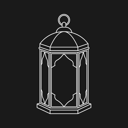 Islamic lantern for Muslim Community festival in linear style isolated on black background. Graphic design element for greeting card, invitation, flyer, banner. Vector illustration