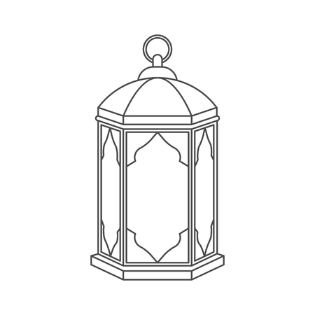 Islamic lantern for Muslim Community festival in linear style isolated on white background. Graphic design element for greeting card, invitation, flyer, banner. Vector illustration