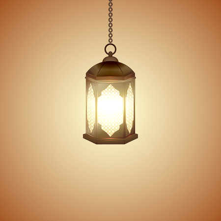 Islamic lantern for Muslim Community festival. Bright beautiful arabic lamp. Graphic design element for greeting card, invitation, flyer, banner. Vector illustration Ilustração