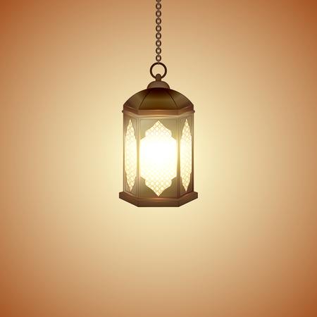 Linterna islámica para el festival de la comunidad musulmana. Lámpara árabe hermosa brillante. Elemento de diseño gráfico para tarjetas de felicitación, invitaciones, volantes, pancartas. Ilustración vectorial Ilustración de vector