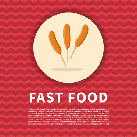 Corndog poster. Cute colored picture of fast food. Graphic design elements for menu, poster, brochure. Vector illustration of fast food for bistro, snackbar, cafe or restaurant Illustration