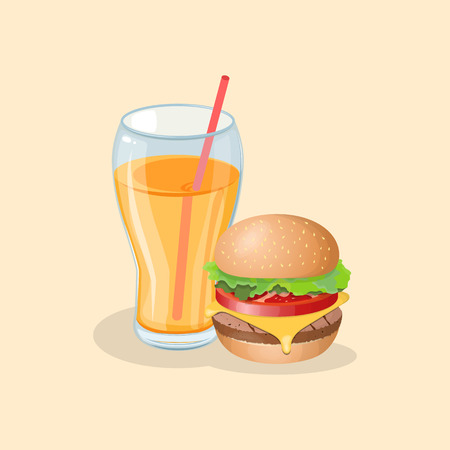 Burger and fresh orange juice - cute cartoon colored picture. Graphic design elements for menu, poster, brochure, advertising. Vector illustration of fast food for bistro, snackbar, cafe or restaurant