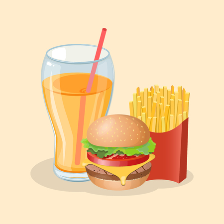 Burger with french fries and fresh orange juice - cute cartoon colored picture. Graphic design elements for menu, poster, ad. Vector illustration of fast food for bistro, snackbar, cafe or restaurant