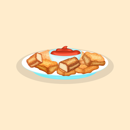 Delicious chicken nuggets with sauce - cute cartoon colored picture of fast food. Graphic design elements for menu, advertising, poster, brochure or background. Vector illustration of fast food