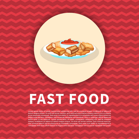 Poster of chicken nuggets with sauce . Cute colored picture of fast food. Graphic design elements for menu, poster, brochure, ad. Vector illustration of fast food for bistro, snackbar, cafe Ilustração