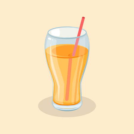 Fresh orange juice in a glass with a straw - cute cartoon colored picture of sweet delicious drink. Graphic design elements for menu, advertising, poster or packaging. Vector illustration of beverage