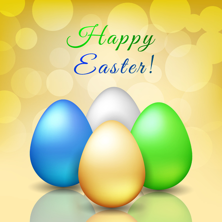 Happy Easter - cute greeting card with golden, silver, blue and green egg on golden background bokeh. Vector illustration