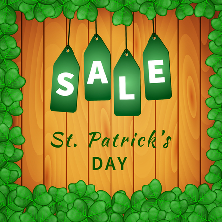 Sale poster of Saint Patrick's day with shamrock on wooden background and hanging green tags. Vector illustration