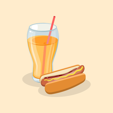 Hot dog and fresh orange juice - cute cartoon colored picture. Graphic design elements for menu, poster, ad, brochure. Vector illustration of fast food for bistro, snackbar, cafe or restaurant Standard-Bild - 122143893