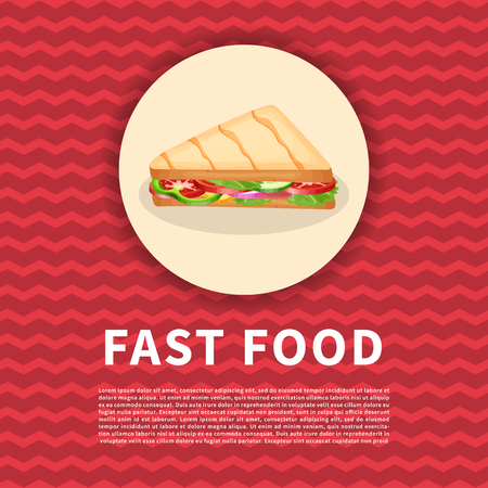 Panini poster. Cute colored picture of fast food. Graphic design elements for menu, poster, brochure, advertising. Vector illustration of fast food for bistro, snackbar, cafe or restaurant Vector Illustration