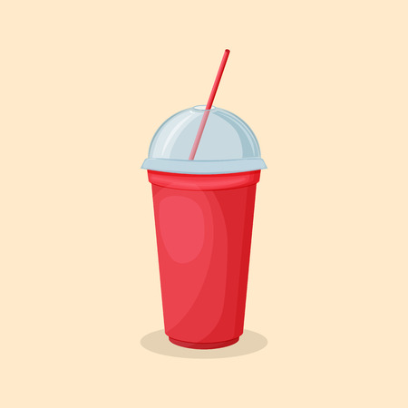 Soda water in a red cup with a straw and a transparent lid - cute cartoon colored picture of sweet drink. Graphic design elements for menu, advertising, poster. Vector illustration of beverage