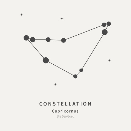 The Constellation Of Capricornus. The Sea Goat - linear icon. Vector illustration of the concept of astronomy  イラスト・ベクター素材
