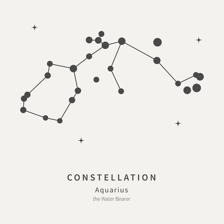 The Constellation Of Aquarius. The Water Bearer - linear icon. Vector illustration of the concept of astronomy
