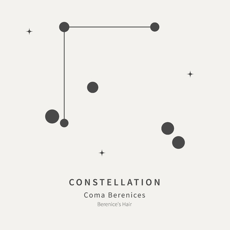 The Constellation Of Coma Berenices. Berenice's Hair - linear icon. Vector illustration of the concept of astronomy