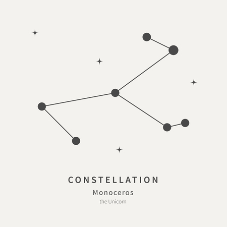 The Constellation Of Monoceros. The Unicorn - linear icon. Vector illustration of the concept of astronomy