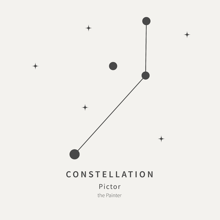 The Constellation Of Pictor. The Painter - linear icon. Vector illustration of the concept of astronomy
