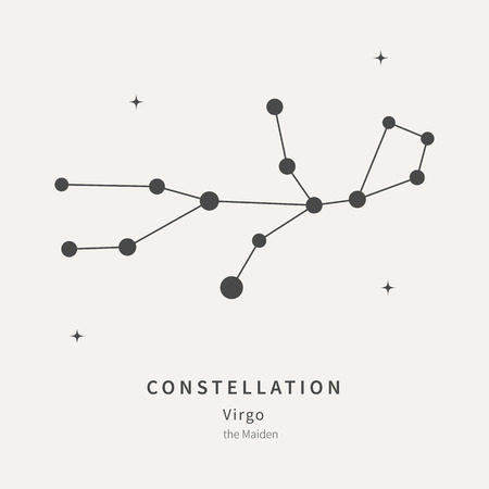 The Constellation Of Virgo. The Maiden - linear icon. Vector illustration of the concept of astronomy