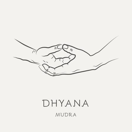 Dhyana mudra: gesto en los dedos de yoga. Símbolo en el concepto de budismo o hinduismo. Técnica de yoga para la meditación. Promover la salud física y mental. Ilustración vectorial Ilustración de vector