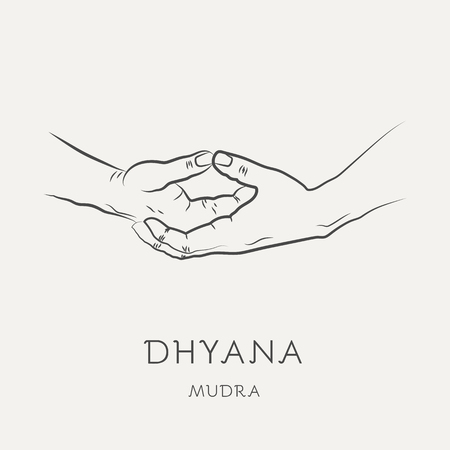 Dhyana mudra - gesture in yoga fingers. Symbol in Buddhism or Hinduism concept. Yoga technique for meditation. Promote physical and mental health. Vector illustration