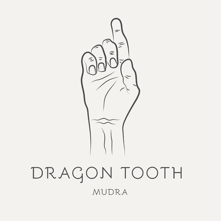 Dragon tooth mudra - gesture in yoga fingers. Symbol in Buddhism or Hinduism concept. Yoga technique for meditation. Promote physical and mental health. Vector illustration Illustration