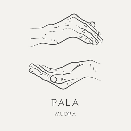 Pala-mudra or mudra of trust - gesture in yoga fingers. Symbol in Buddhism or Hinduism concept. Yoga technique for meditation. Promote physical and mental health. Vector illustration