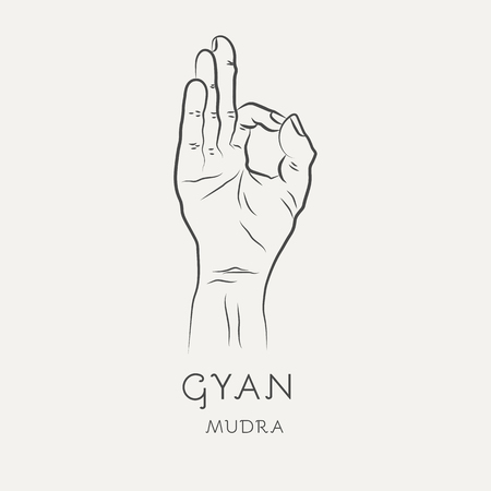 Gyan mudra or chin-mudra - gesture in yoga fingers. Symbol in Buddhism or Hinduism concept. Yoga technique for meditation. Promote physical and mental health. Vector illustration