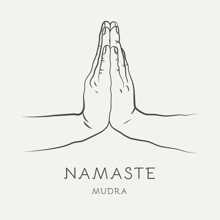 Namaste mudra - gesture in yoga fingers. Symbol in Buddhism or Hinduism concept. Ritualistic indian greeting. Vector illustration isolated on white background