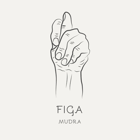 Figa mudra - gesture in yoga fingers. Symbol in Buddhism or Hinduism concept. Yoga technique for meditation. Promote physical and mental health. Vector illustration Illustration