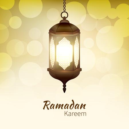 Ramadan Kareem - greeting card with hanging islamic lantern on golden bokeh background for Muslim Community festival. Bright lamp. Graphic design element for invitation, flyer. Vector illustration Illustration