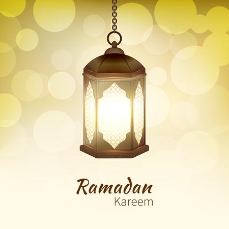 Ramadan Kareem - greeting card with hanging islamic lantern on golden bokeh background for Muslim Community festival. Bright lamp. Graphic design element for invitation, flyer. Vector illustration Ilustrace