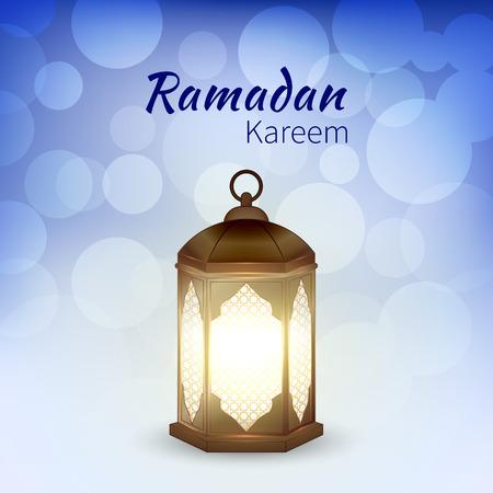 Ramadan Kareem - greeting card with islamic lantern on blue bokeh background for Muslim Community festival. Bright arabic lamp. Graphic design element for invitation, flyer. Vector illustration
