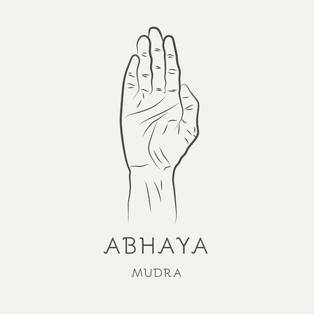 Abhaya mudra - gesture in yoga fingers. Symbol in Buddhism or Hinduism concept. Yoga technique for meditation. Promote physical and mental health. Vector illustration Vectores