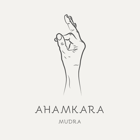 Ahamkara mudra - gesture in yoga fingers. Symbol in Buddhism or Hinduism concept. Yoga technique for meditation. Promote physical and mental health. Vector illustration