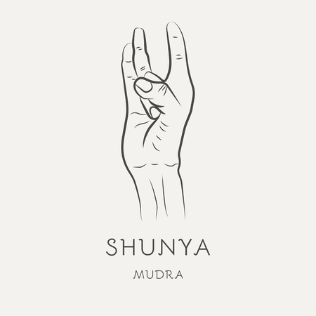 Shunya mudra - gesture in yoga fingers. Symbol in Buddhism or Hinduism concept. Yoga technique for meditation. Promote physical and mental health. Vector illustration