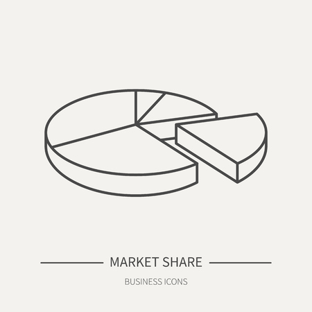 Market share - business icon in flat thin line style. Graphic design elements for ad, apps, website,packaging, poster or brochure. Vector illustration Vectores