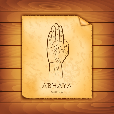 Ancient papyrus with the image of Abhaya-mudra on a wooden background. Symbol in Buddhism or Hinduism concept. Yoga technique for meditation. Promote physical and mental health. Vector illustration