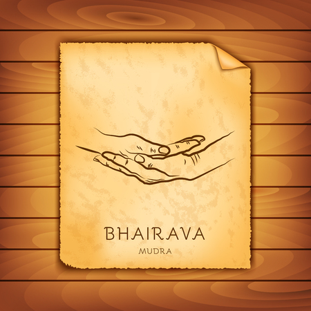 Ancient papyrus with the image of Bhairava-mudra on a wooden background. Symbol in Buddhism or Hinduism concept. Yoga technique for meditation. Promote physical and mental health. Vector illustration